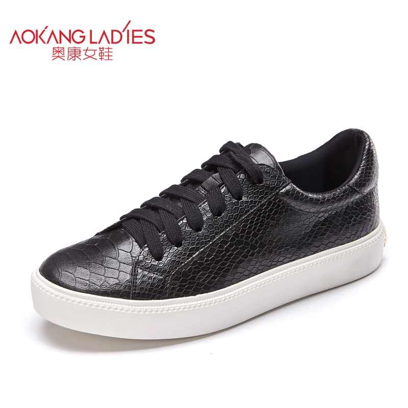 ФОТО Aokang 2016 autumn ladies shoes embossed sheepskin leather shoes lace up female shoes solid round toe casual shoes wholesale