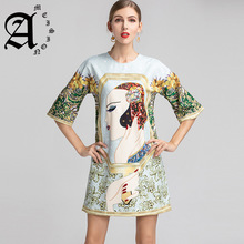 Ameision Fashion Runway Spring Summer Dress Womens Half Sleeve Gorgeous Crystal Character Printed Elegant Loose Dresses