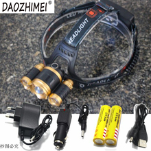 Adjustable Focus Zoom Headlight 10000LM XML T6 LED Headlamp 4 Modes Outdoor Camping Sports Head Light Lamp+18650 Charger