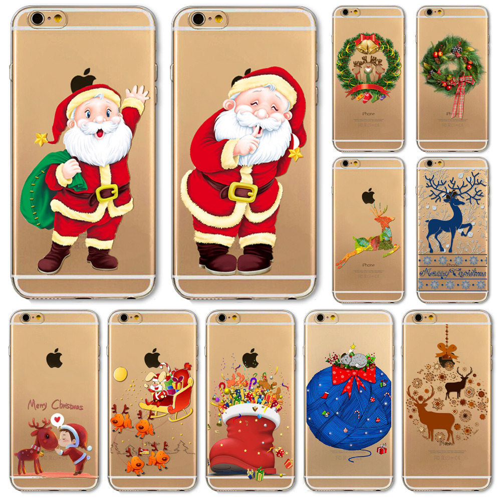 Soft Phone Cover Case For iPhone 7 6 6S 5 5S SE 7Plus 6SPlus 4 4S Amazing Present Santa Claus Christmas Tree Hat Cat Fundas
