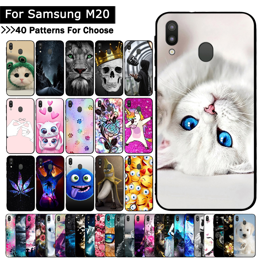 Case For Samsung Galaxy M20 Cat Cartoon Cute Mobile Phone Shells Bags Protective Cover For Samsung M 20 Protective Cases Fundas