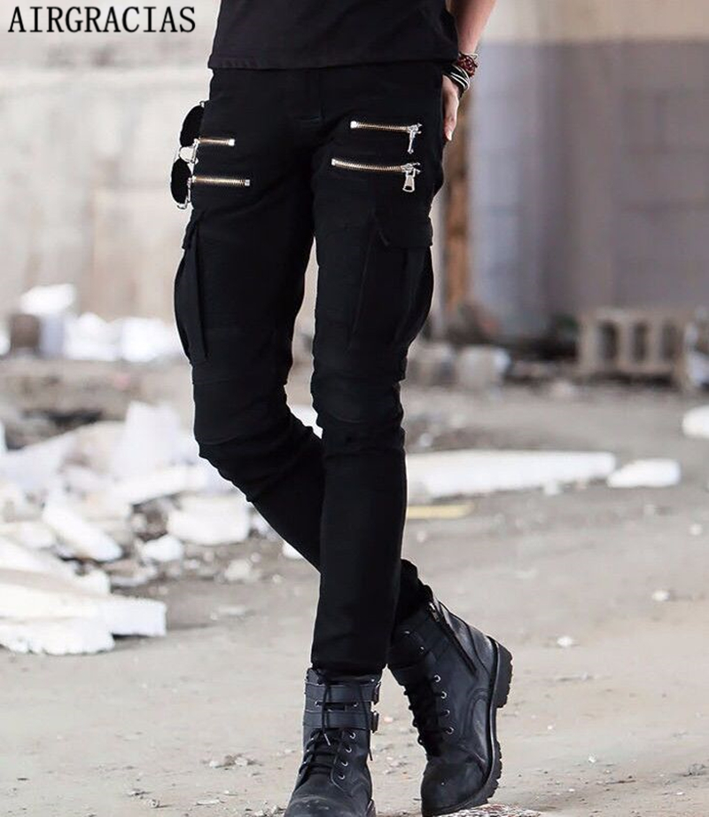 AIRGRACIAS Mens Stylish Multi Pockets Zipper Biker Jeans Pants Classic Skinny Slim Trousers Mens Black Folds Long Pants