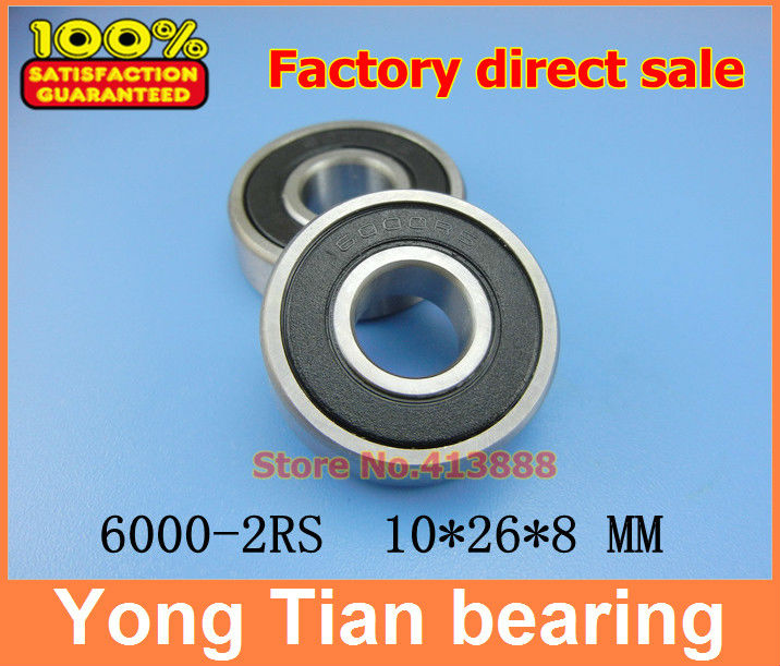 (1pcs) High quality deep groove ball bearing double rubber sealing cover 6000-2RS 10*26*8 mm 608 2rs 608rs 608 2rs 8mmx22mmx7mm double purple rubber sealing cover deep groove ball bearing for skate scooter abec 9