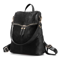 LOVEVOOK Brand Vintage Women Backpack Nubuck Leather PU School Backpacks For Teenage Girls Casual Large Capacity
