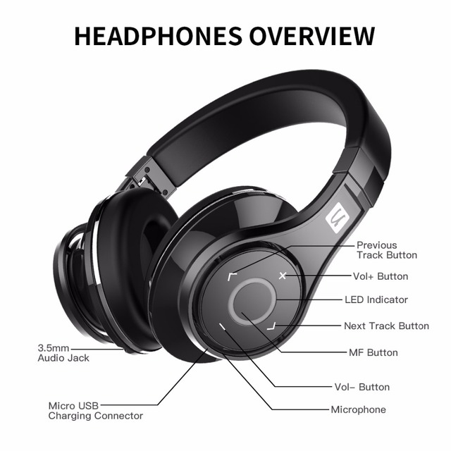 Patented 8 Drivers3D Sound Aluminum alloy Over-Ear wireless headset Bluedio U(UFO)Bluetooth headphone  High-End Genuine