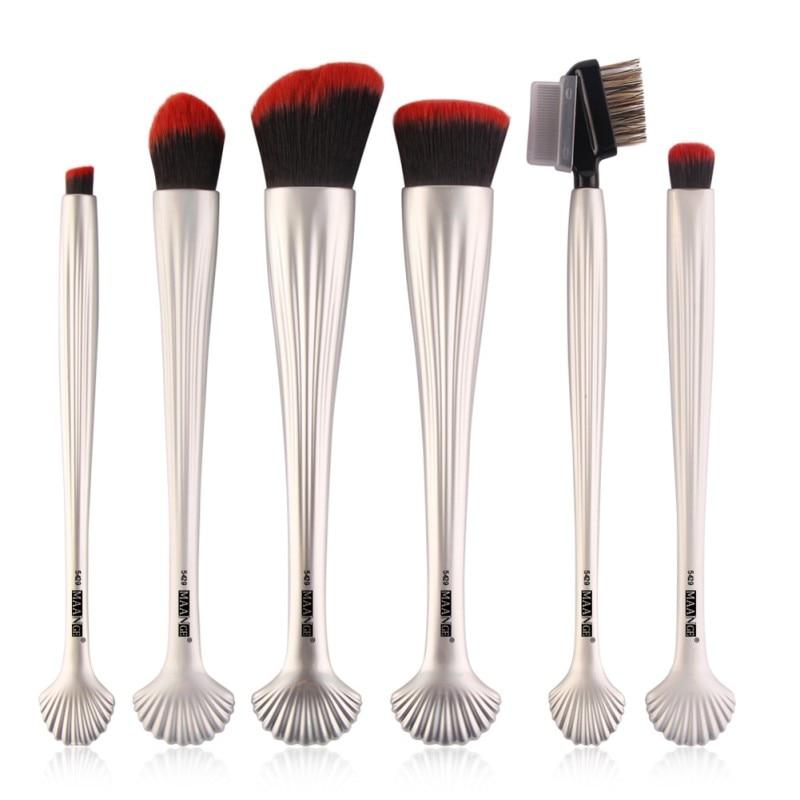 6pcs/set Professional Shell Makeup Blush Set Foundation Contour Cosmetic Powder Lip Beauty Maquillage Makeup Brush Kits L7