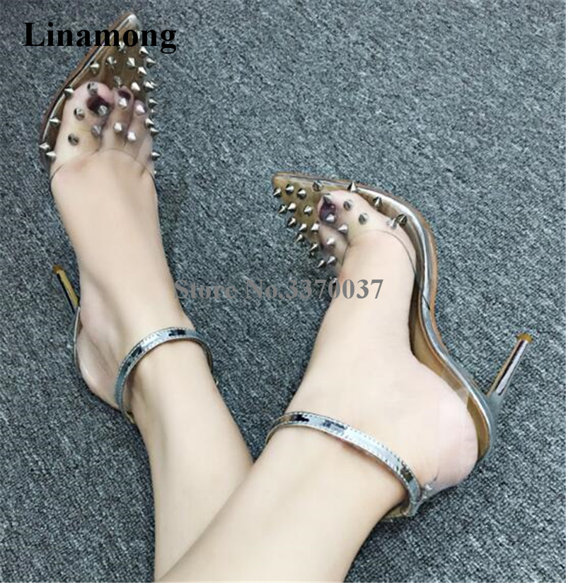Women Luxurious Pointed Toe PVC Gold Silver Rivet Stiletto Heel Pumps Ankle Strap Transparent High Heels Club Sexy Shoes