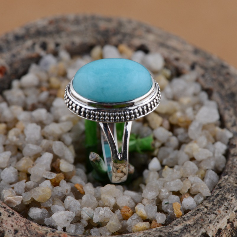 Amazonite ring silver wholesale S925 silver inlaid Antique Style Silver simple female gift s925 silver antique style men open world peace ring