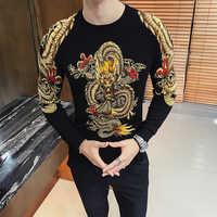 Suéter con estampado de dragón dorado de lujo para hombre Pullver Erkek Kazak Club de fiesta ropa de escenario para hombre suéter Trui Heren