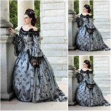 Freeship!Customer-made Black Vintage Costumes Renaissance Dress Steampunk dresses Gothic Cosplay Halloween Dresses C-1234