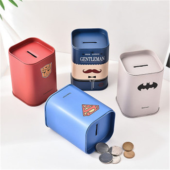 1PC Personalise Square piggy bank Money Boxes Logbook Series Tin Plate box Money Saving Pot Coin Box Jewelry Box Storage Tank Money Boxes