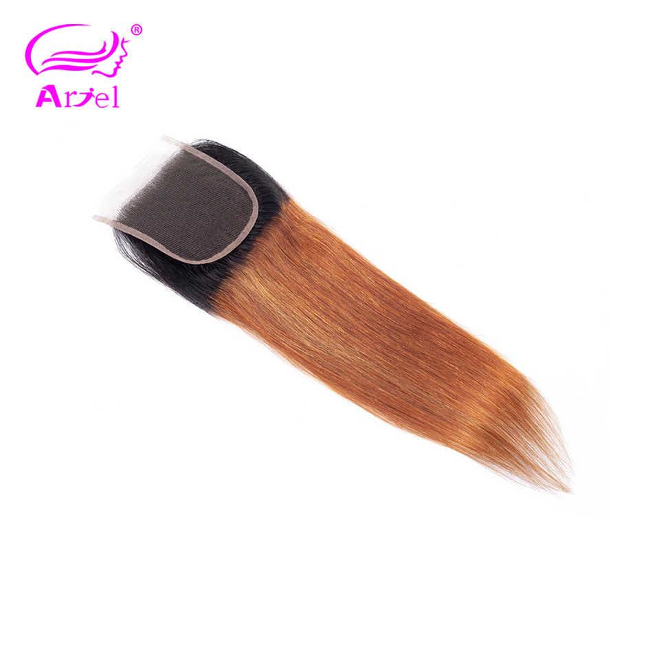Ариэль Омбре кружева закрытие свободная часть бразильские Прямые Закрытие блонд 1B/30 два тона закрытие цвет не Реми человеческие волосы