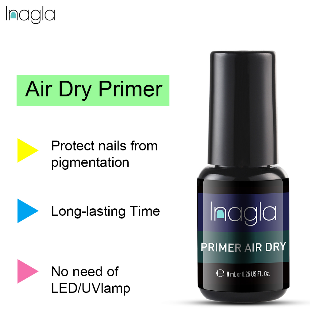 Inagla 8ml Fast Air Dry Primer UV LED Gel Base Primer No Need Of UV/LED Lamp Soak Off Gel Nail Polish For Nail Art Design Gel