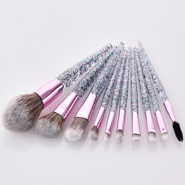 10Pcs Glitter Diamond Crystal Handle Makeup Brushes Set Eyebrow Eyeshadow Powder Foundation Face Make Up Brush Cosmetic Tool Kit
