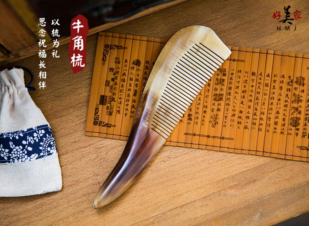 New Mustache Combs Natural Amber Ox Horn Comb Of Hair No Static font b Health b