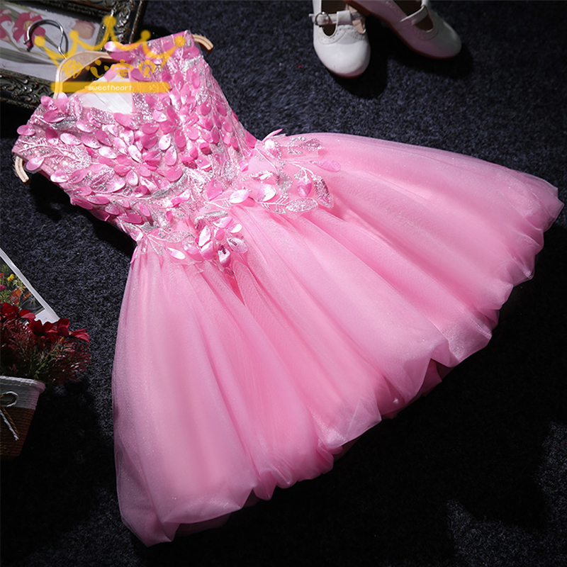 Shining Birthday Dress for Girls Sequined Princess Dress Ball Gown Sleeveless Flower Girl Dresses Appliques Kids Pageant Dress sexy plunging neck sleeveless sequined bodycon dress for women