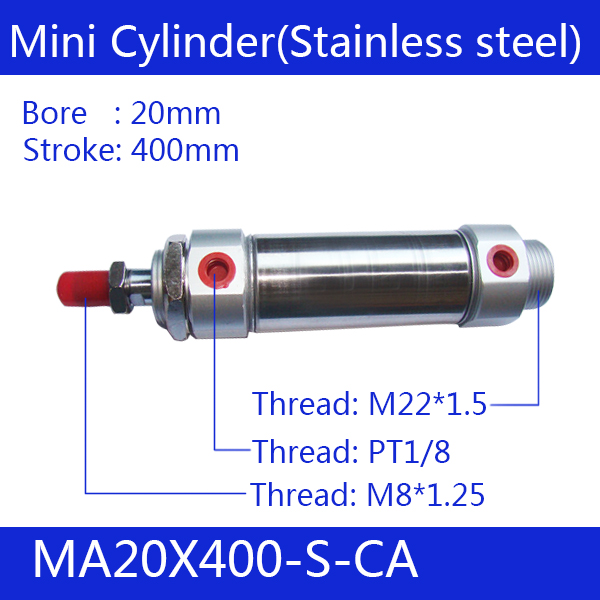 ФОТО Free shipping Pneumatic Stainless Air Cylinder 20MM Bore 400MM Stroke , MA20X400-S-CA, 20*400 Double Action Mini Round Cylinders