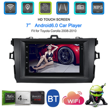 7'' Smart Android 6.0 2 Din Car Stereo Radio Player GPS Navigation with BT WIFI AM/FM Fit for Toyota Corolla 2008-2010 eunavi 8 inch 2 din android 7 1 car dvd player gps for toyota corolla 2007 2008 2009 2010 2011 1024 600 car stereo radio