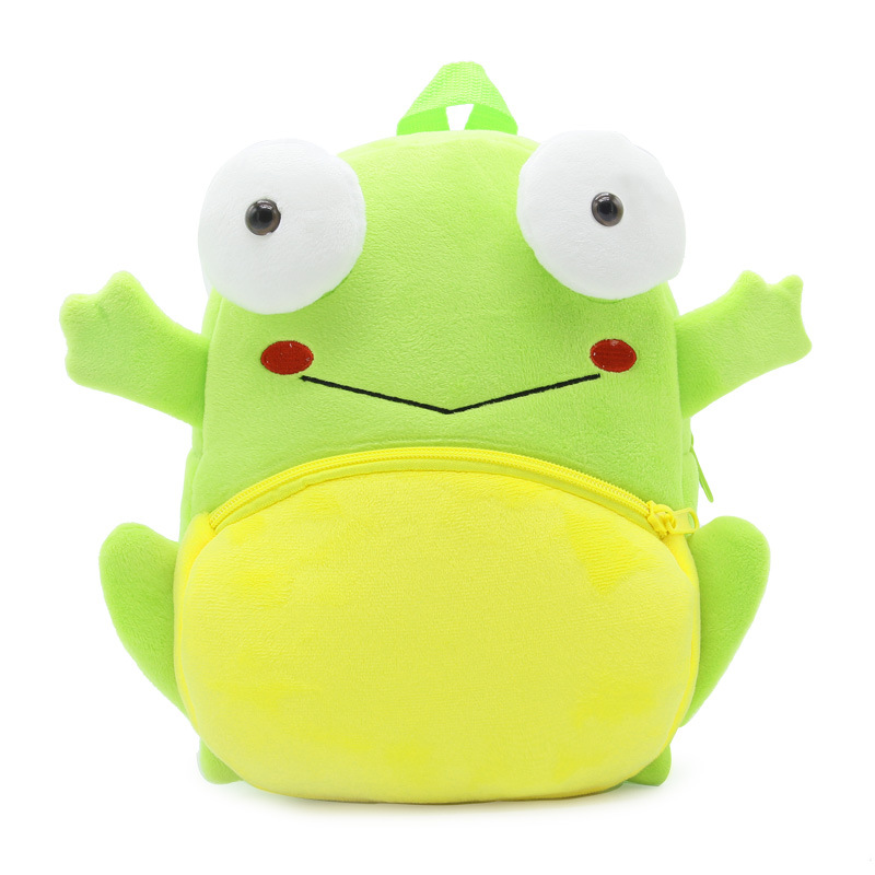 Faithful Novelty Cartoon Green Frog Plush Backpack For Kindergarten Toddler Baby School Bag Animals 3d Stitch Gift Toy Boy Girl Schoolbag Fixing Prices According To Quality Of Products School Bags