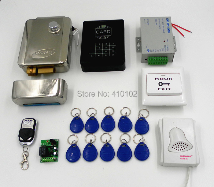 DIY RFID 125KHz ID Card Reader Keypad Access Control System Kit + Electronic Lock + Power Supply +10 ID Cards