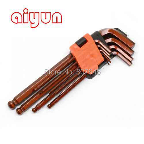 9pcs/set Ball Type Allen Hex Key Wrench Spanner Set Hexagon Wrench Set T Type  цены