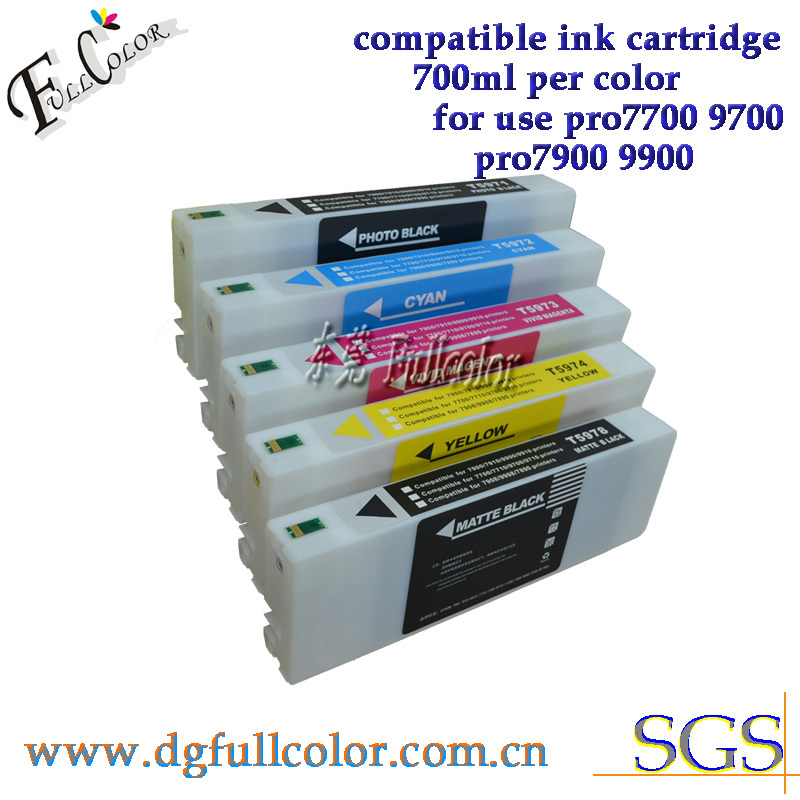 Free Shipping 100% compatible for Epson pro 7700 ink cartridge refill with pigment ink T5961-5 bulk ink cartridge ciss bulk refillable ink cartridge for epson stylus pro 7700 7710 9700 9710 printer ink cartridge