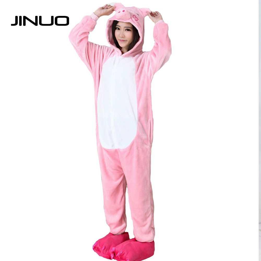 JINUO Pink Pig Woman Animal Pajama Sets Adult Unisex Cosplay Men Pyjamas  Women Onesie Cartoon Warm 29ad702bd