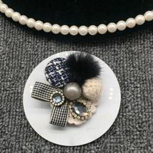 Fashion Fur Bow pearl brooch vintage exquisite gift Popular Cute Collar Flower Brooch simulated Pearls Exquisite