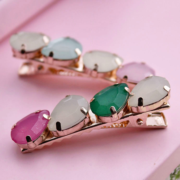 South Korea's hair is pure and fresh and fashion color matching gems hairpin edge clips