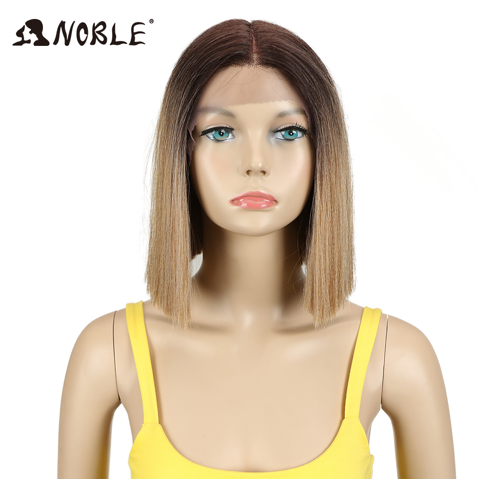 Noble Wig Hair Short Lace-Front 1b-Color Black-Women Ombre 10inch Straight for Synthetic