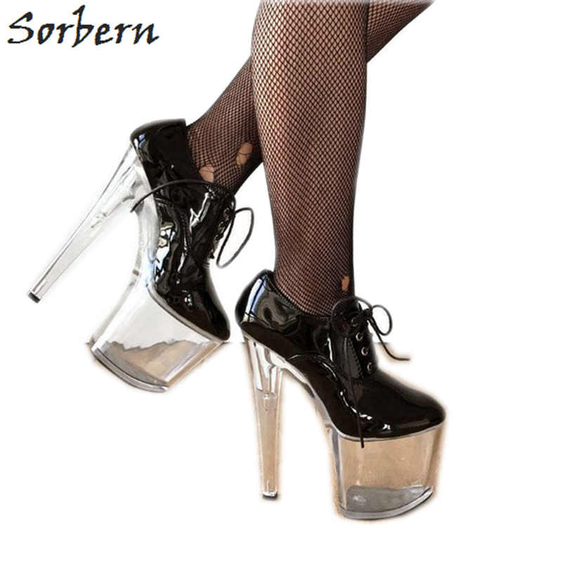 81c854465ad31 Sorbern Super High Heel 20Cm Women Pump Shoes Platform Heeled Perspex Clear  High Heels Online Lace