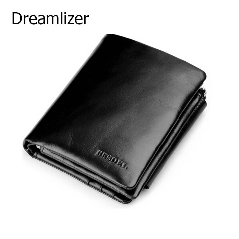 Famous Brand Trifold Men 100% Genuine Leather Wallet Short Zipper Coin Purse Wallet Black and Brown Male Leather Card Holder european and american fashion genuine leather embossing no zipper designer famous brand luxury short section men standard wallet