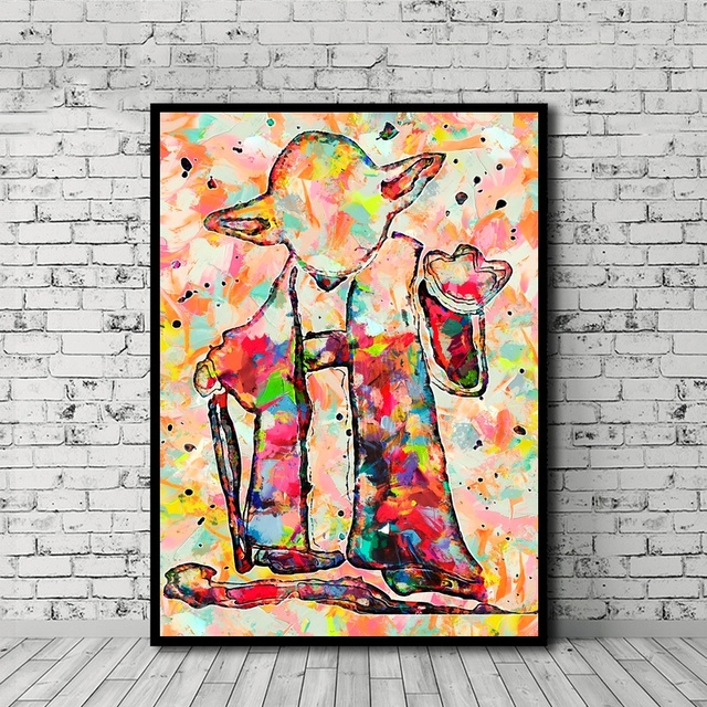 Yoda Watercolor Art Canvas Poster Prints Wall Art Paintings for Living Room No Frame