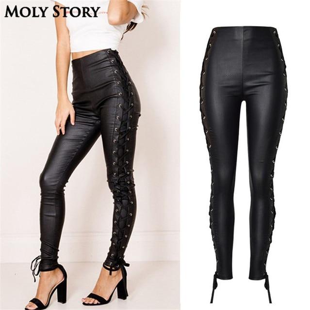 Relatively New Fashion Stretchy Plus Size Black Coating Faux Leather Pants  AA08