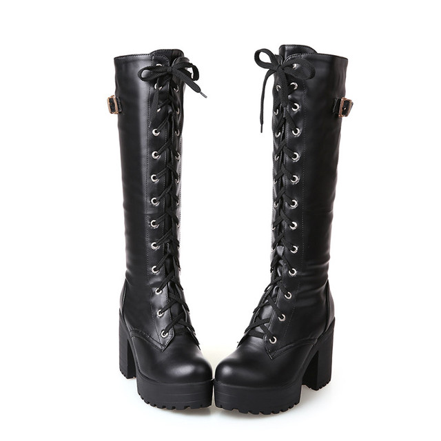 c6efb253f724b US $20.1 33% OFF|PXELENA Gothic Square Chunky Block High Heels Riding Boots  Women Lace Up Thick Platform Rock Punk Cosplay Knee High Boots Shoes-in ...