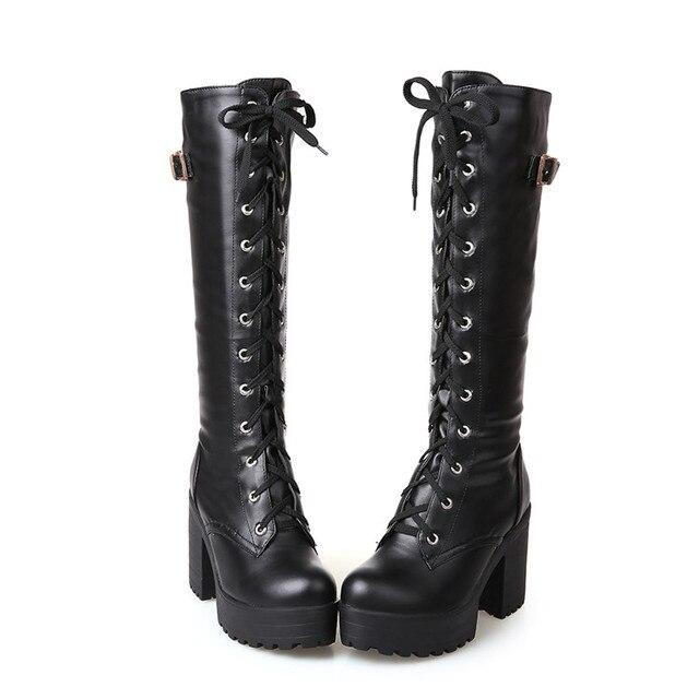 PXELENA Gothic plac Chunky blok wysokie obcasy buty jeździeckie kobiet zasznurować grube platformy Rock Punk Cosplay buty do kolan buty