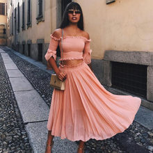Women two piece outfits off the shoulder crop top and skirt set chiffon  maxi dresses for women 2 piece outfits matching sets 49ddbb9d050c