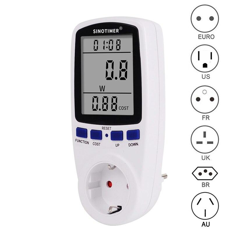EU BR UK Plug Socket Digital Wattmeter Meter Power Consumption Watt Energy Meter KWh AC 220V 110V Electricity Analyzers Monitors