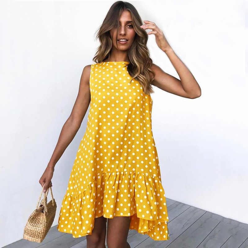 Летнее платье без рукавов с принтом в горошек, женское повседневное свободное платье с круглым вырезом и оборками, большие размеры, Пляжное Платье в стиле бохо, Femme Vestidos