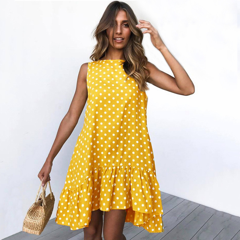 Sleeveless Polka Dot Printed Summer Dress Women Ruffles O-Neck Casual Loose Plus Size Dresses Boho Beach Robe Femme Vestidos
