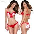 2017 NOVA chegada sexy conjunto de Lingerie Tamanho Livre das mulheres Vermelhas Tipo três Pontos Biquíni Exposto peito Bra calças Arco Erótico Lingerie