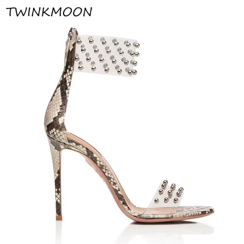 2019 sandales cloutées femmes talons aiguilles chaussures PVC Transparent sandales serpent imprimé chaussures en cuir zapatos de mujer - 5
