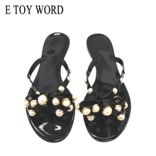 E TOY WORD Women shoes 2019 Summer New Sandals and Slippers Flat with Bow pearl slippers Flip-flops Garden Jelly beach sandals недорого