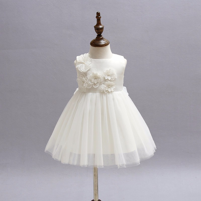 купить High quality New baby girls dress Newborn Christmas dresses Infant Satin Party Flower Girl Christening Gown vestidos de festa по цене 1325.95 рублей