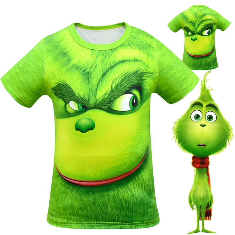 New Green Cosplay Costume Boy Halloween Christmas Carnival Short Sleeve T-Shirt Party for Kids Clothes Boy Street Costumes