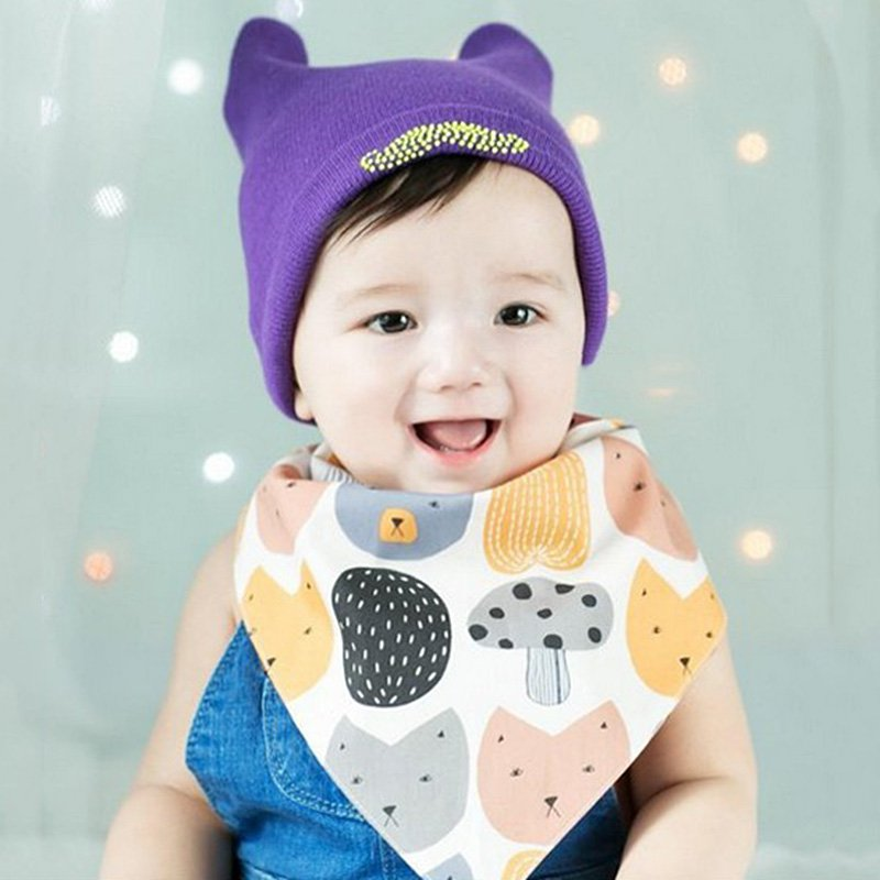 Comfortable Bib Cute Cartoon Feeding Bibs Baby Bibs Triangular scarf Head Scarf
