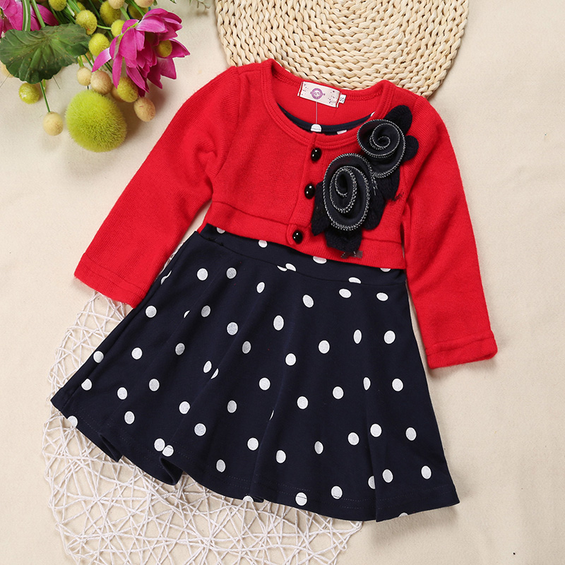 SQ138 Free Shipping 2017 New Style Baby Girl Long-Sleeved Bow Dress Children Flower Princess Dress Kid In Polka Dot Dress Retail free shipping new red hot chinese style costume baby kid child girl cheongsam dress qipao ball gown princess girl veil dress