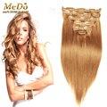 Remy virginal brasileña del pelo Clip en las extensiones 8 unids 220 g Clip en extensiones del pelo recto Blonde Clip en extensiones de cabello humano