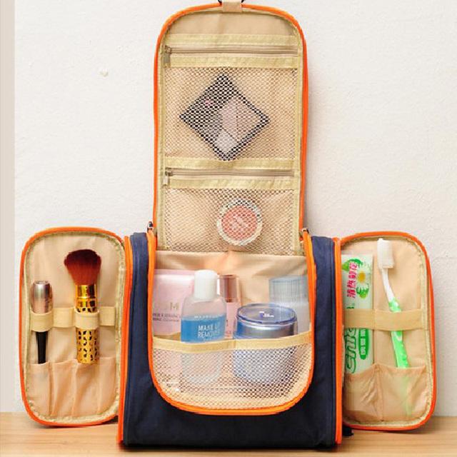 2016 marca nuevas mujeres casos cosméticos para mujer compone bolsos funciones de doble abertura de la cremallera de viajes a niza lavado bolsos
