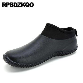 Booties Rainboots Trainer High Top Sneakers Slip On Ankle Pvc Autumn Shoes Plus Size Flat Mens Rubber Rain Boots Waterproof 2018